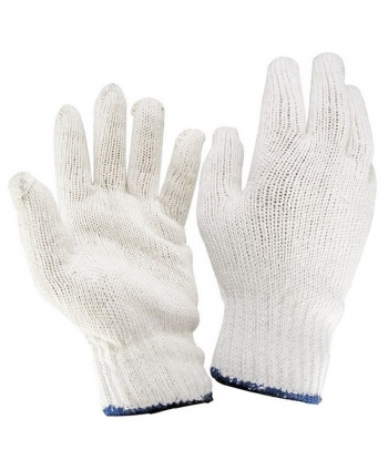 White cotton string knit glove